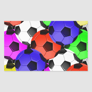 Multicolored American Soccer or Football Rectangle Stickers