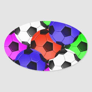 Multicolored American Soccer or Football Oval Sticker