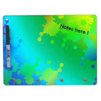 Multicolored and colorful color splash dry erase board with keychain holder
