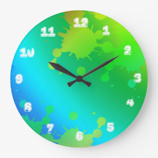 Multicolored and colorful color splash large clock