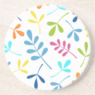 Multicolored Assorted Leaves Design Drink Coaster