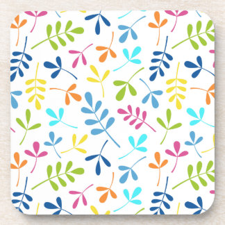 Multicolored Assorted Leaves Pattern Drink Coaster
