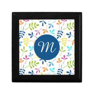 Multicolored Assorted Leaves Ptn (Personalized) Jewelry Box