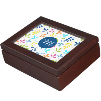 Multicolored Assorted Leaves Ptn (Personalized) Keepsake Box