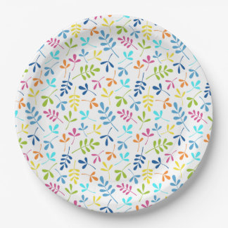 Multicolored Assorted Leaves Repeat Pattern Paper Plate