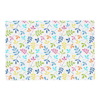 Multicolored Assorted Leaves Repeat Pattern Placemat