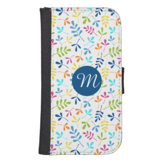 Multicolored Asstd Leaves Rpt Ptn (Personalized) Galaxy S4 Wallet Cases