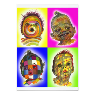 Multicolored Baby Face Collage Art by Lenn Redman Card