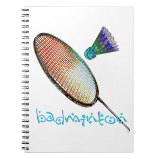 Multicolored badminton racket and shuttle notebook