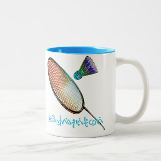 Multicolored badminton racket and shuttle Two-Tone coffee mug