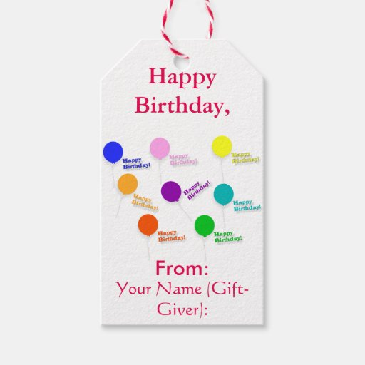 Multicolored Balloons Happy Birthday Template Gift Tags