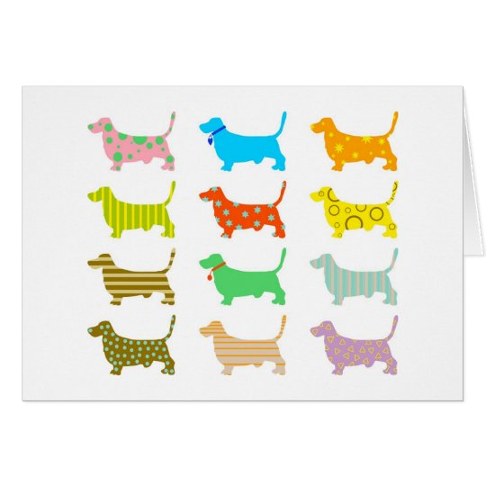 Multicolored bassets card
