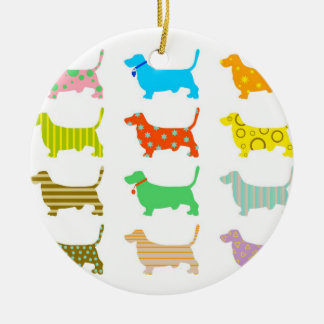 Multicolored bassets Christmas ornament
