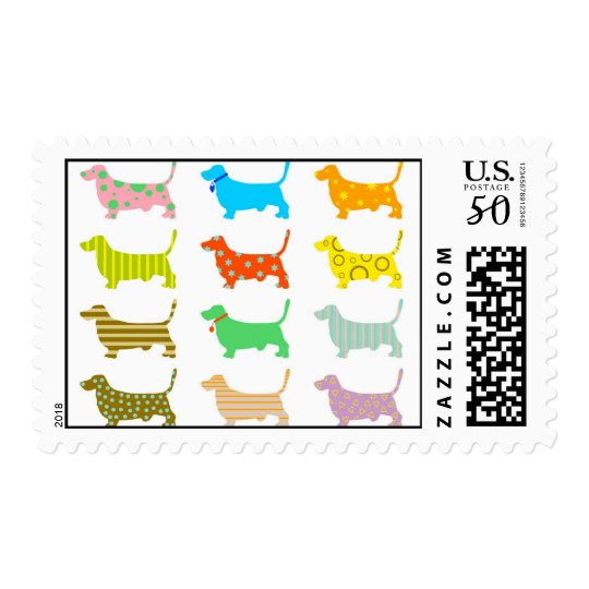 Multicolored bassets stamp