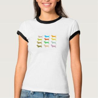 Multicolored bassets women's tee