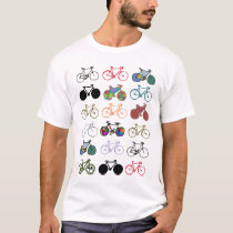 multicolored bicycles pattern T-Shirt
