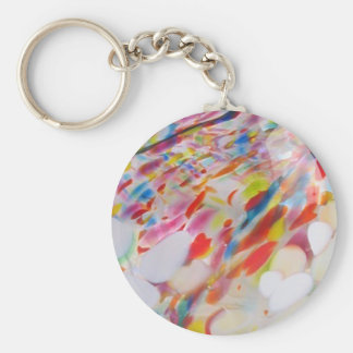 Multicolored blown glass keychain