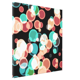 Multicolored Bubbles on a Black Background Canvas Print