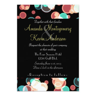 Multicolored Bubbles on a Black Background Wedding Card