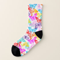 Multicolored Butterflies Pattern Socks