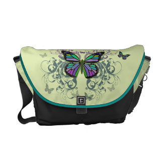 MultiColored Butterfly Courier Bag