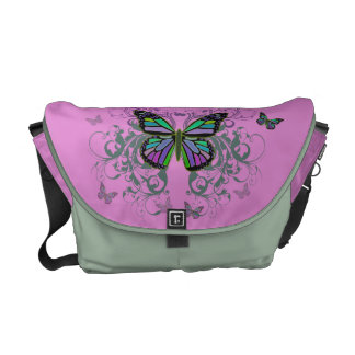 MultiColored Butterfly Messenger Bag