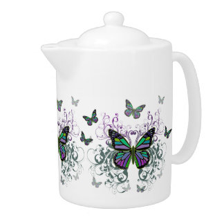 MultiColored Butterfly Teapot