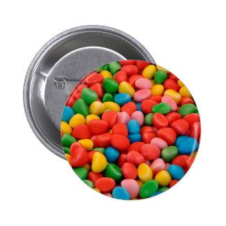 multicolored candies pinback button