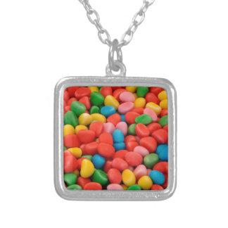 multicolored candies square pendant necklace