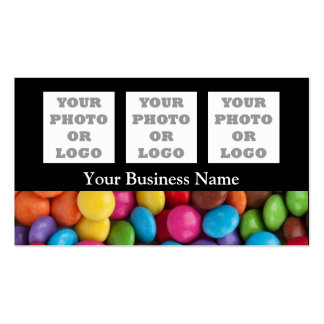 Multicolored candy or sweet pattern on black business card
