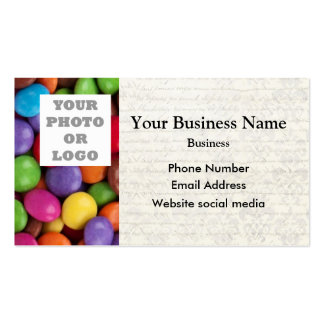 Multicolored candy or sweet pattern photo template business card