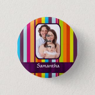 Multicolored candy stripe button
