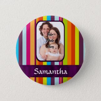 Multicolored candy stripe pinback button