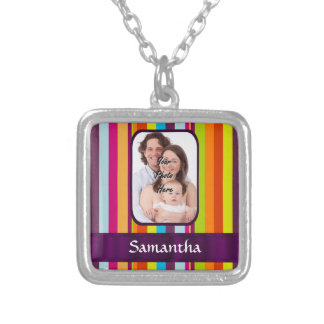 Multicolored candy stripe silver plated necklace