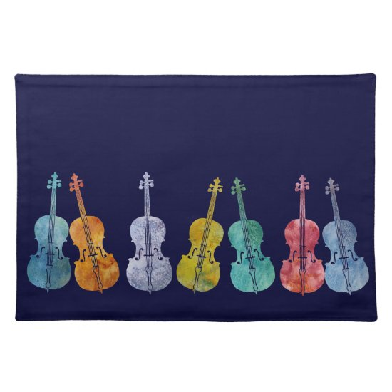 Multicolored Cellos Cloth Placemat