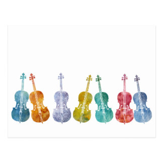 Multicolored Cellos Postcard