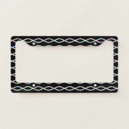 Multicolored Chain-Like Pattern (Black Background) License Plate Frame