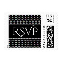 Multicolored Chain-Like Pattern (Black Background) Postage