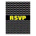 [ Thumbnail: Multicolored Chain-Like Pattern (Black Background) Postcard ]