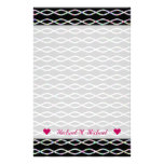 [ Thumbnail: Multicolored Chain-Like Pattern (Black Background) Stationery ]
