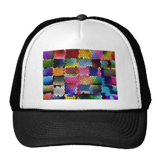 Multicolored check patterns stained glass trucker hat