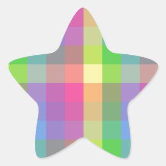 Multicolored Checker Design Star Sticker