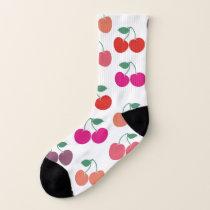 Multicolored Cherry Pattern Socks