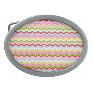Multicolored chevron zigzag belt buckle