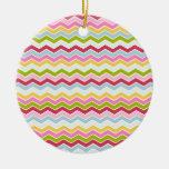 Multicolored chevron zigzag Double-Sided ceramic round christmas ornament