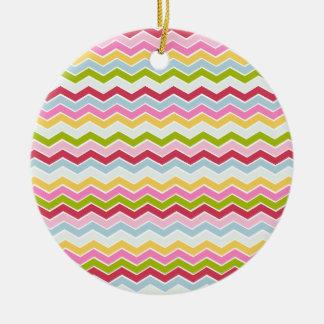 Multicolored chevron zigzag christmas ornament