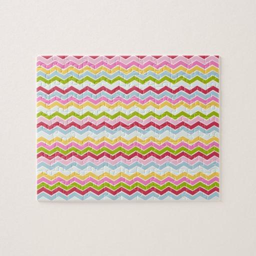 Multicolored chevron zigzag jigsaw puzzles