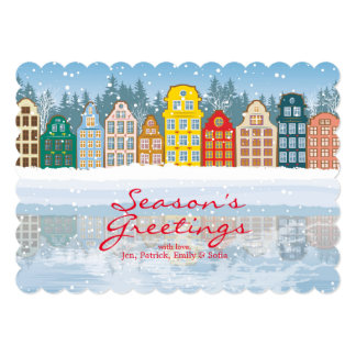 Multicolored Christmas City Card