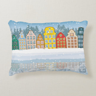 Multicolored Christmas City Accent Pillow