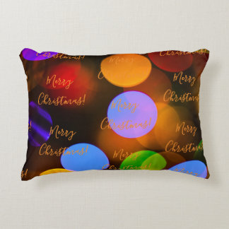 Multicolored Christmas lights. Accent Pillow